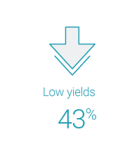 low yields 43